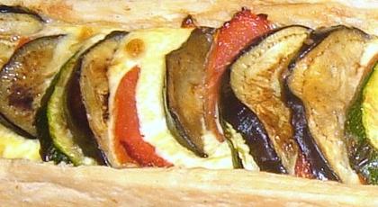 Tarta en Ratatouille con queso de cabra